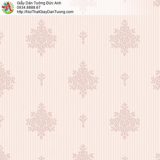 8808-3- Giấy dán tường hoa văn cổ điển màu hồng, bán giấy tại Bình Tân