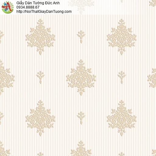8808-4 - Giấy dán tường kiểu cổ điển màu vàng kem, dán giấy dán tường