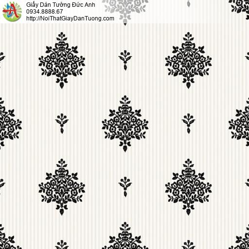 8808-5 - Giấy dán tường hoa văn màu đen nền màu kem, thợ dán tường HCM