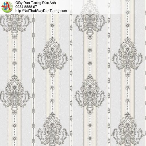 8810-3 - Giấy dán tường hoa văn sọc màu xám xanh, sọc hoa văn đẹp