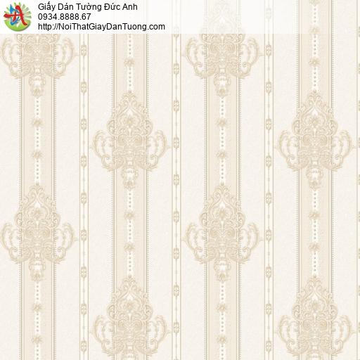 8810-4 - Giấy dán tường sọc bông, hoa văn sọc màu vàng kem