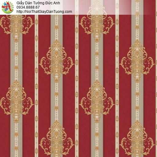 8810-5- Giấy dán tường sọc hoa văn màu đỏ, bán giấy dán tường Bình Tân