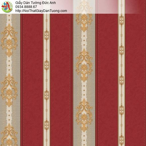 8811-1 - Giấy dán tường dạng sọc đứng màu đỏ, sọc bông màu vàng