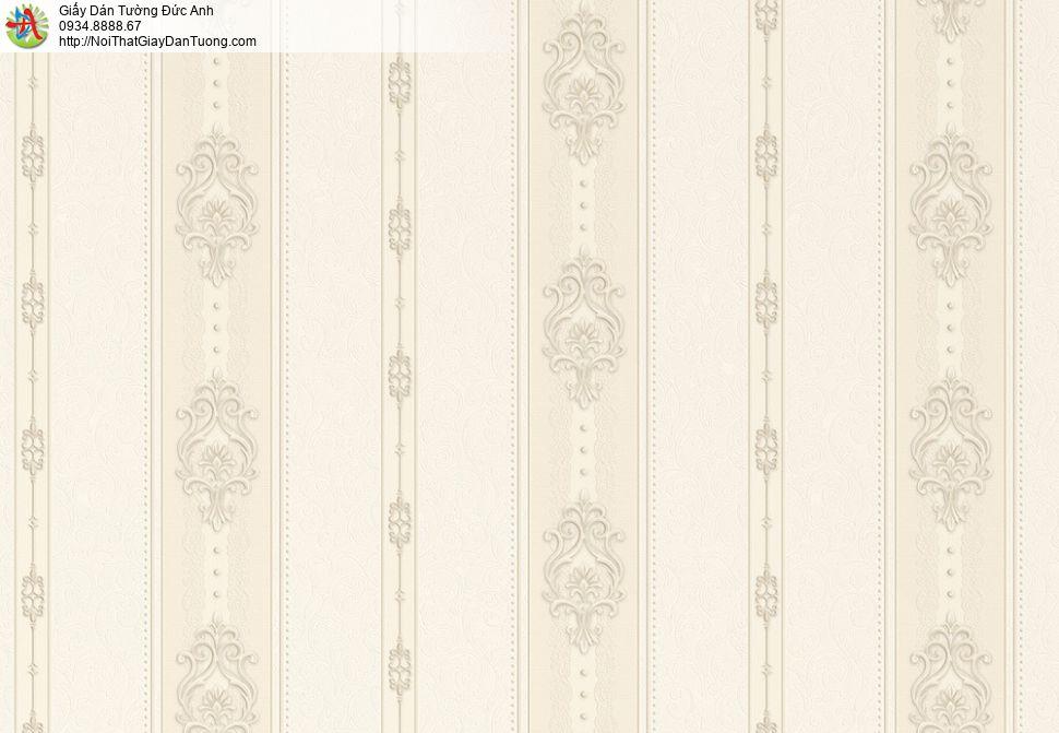 8811-4 - Giấy dán tường kẻ sọc đứng màu vàng nhạt, giấy sọc màu kem