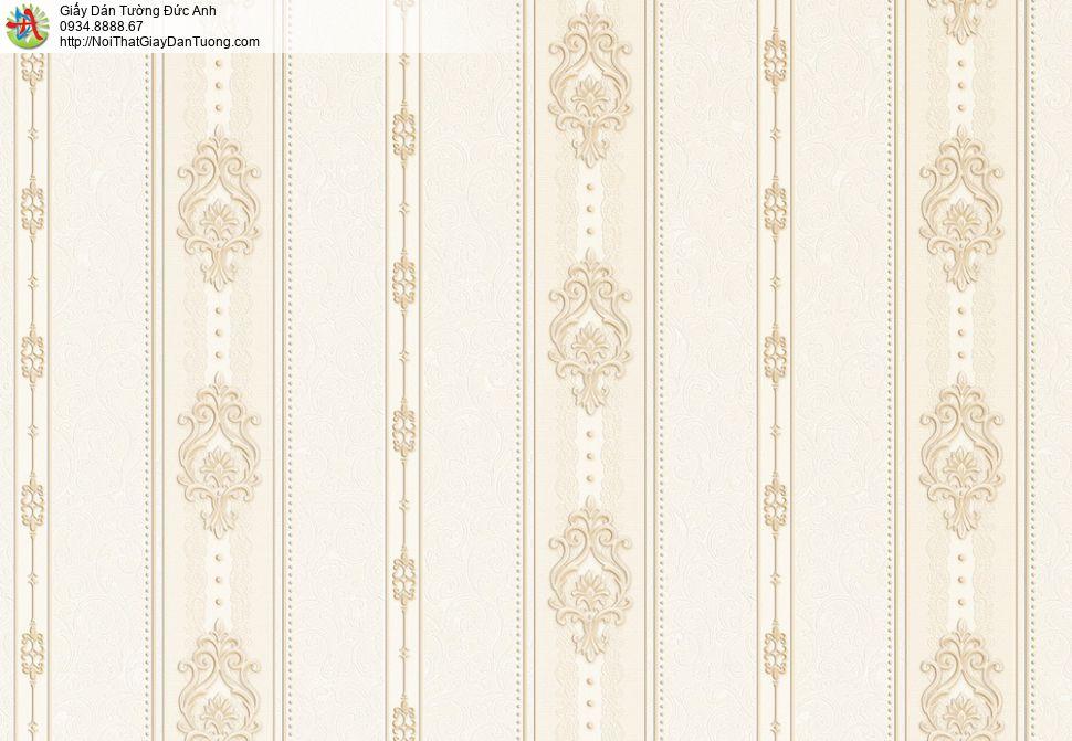 8811-5 - Giấy dán tường sọc thẳng đứng màu vàng nhạt, sọc vàng kem