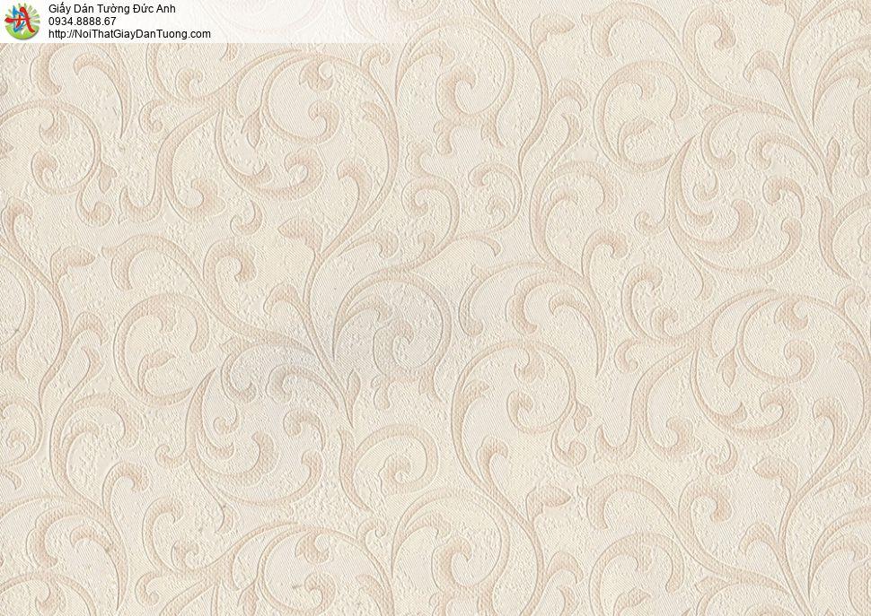 8812-1 - Giấy dán tường hoa văn màu vàng nhạt, Giấy dán tường Đức Anh