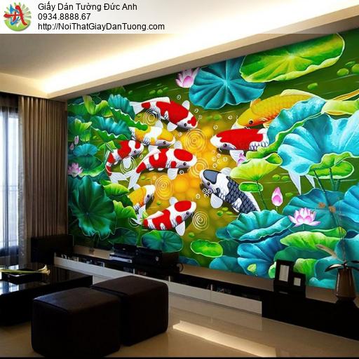 7083-Tranh dán tường cửu ngư quần hội - tranh phong thủy cá và hoa sen