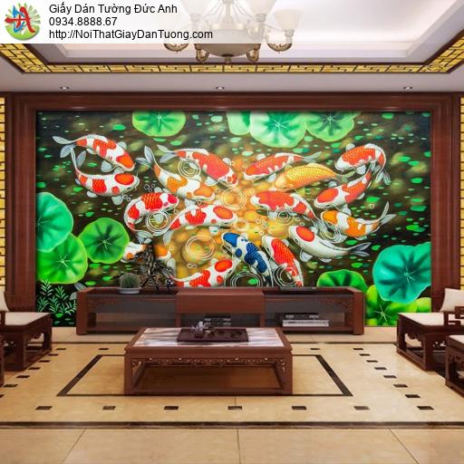 7084 - Tranh dán tường cá và hoa sen, Cửu Ngư Quần Hội, tranh 9 con cá