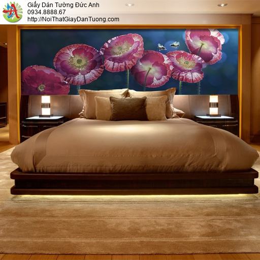 3318 - Tranh dán tường những bông hoa màu tím, điểm nhấn phòng ngủ đẹp