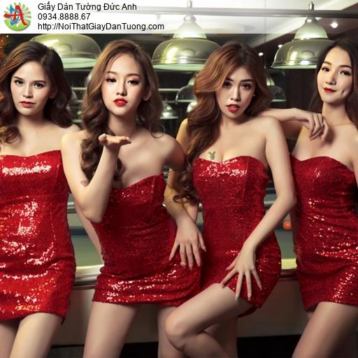 DA338 - Tranh dán tường 4 cô gái chơi bi a, những cô gái chân dài đẹp