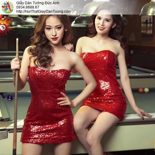 DA340 - Tranh dán tường 2 cô gái sexy chơi bida, girl bi-a