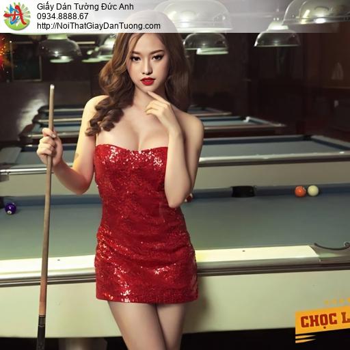 DA343 - Bida sexy girl, Tranh dán tường cho phòng bi-a đẹp sexy