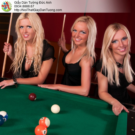 DA356 - Tranh dán tường ba cô gái chơi bida, các cô gái tây chơi bi-a