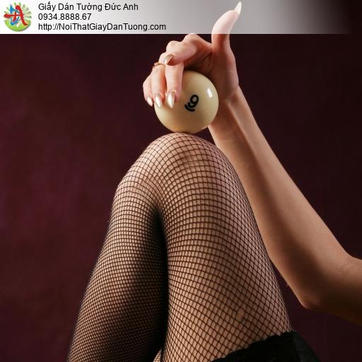 DA359 - Tranh dán tường cô gái vui đùa với bida, sexy bida love