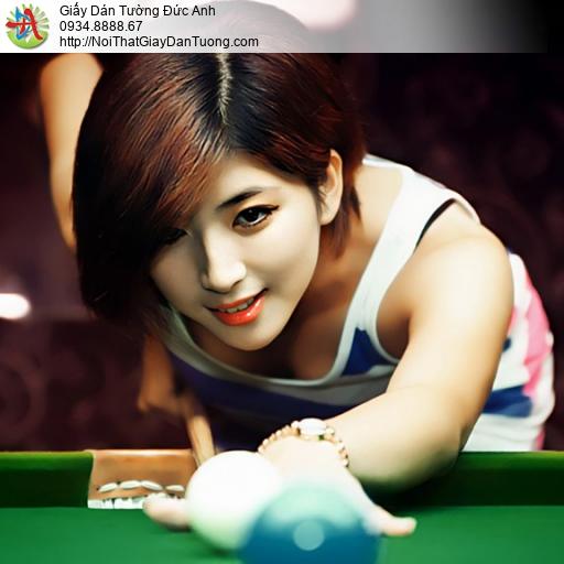 DA364 - Sử dụng tranh dán tường cho phòng bida, cô gái chơi bi a đẹp