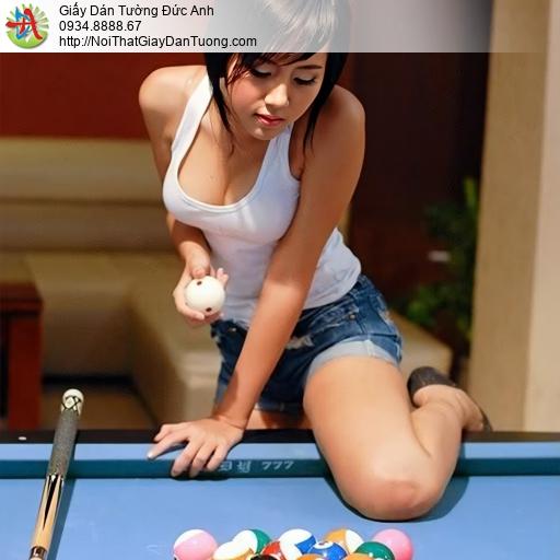 DA368 - Tranh dán tường cô gái tre sexy chơi bida, hot girl Snooker