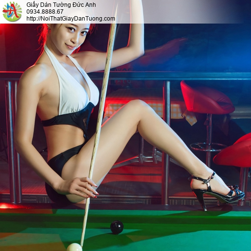 DA369 - Tranh dán tường cô gái xinh đẹp chơi bida, hot girl sexy bi a