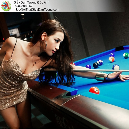 DA372 - Tranh dán tường girl sexy chơi Billiards & Snooker, Pool