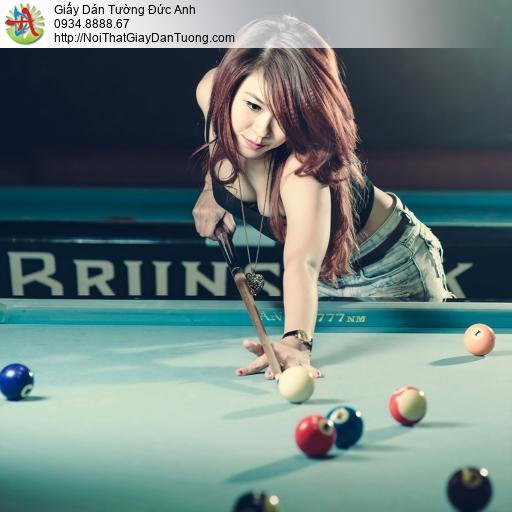 DA377 - Tranh dán tường em gái xinh đẹp chơi bi da, girl sexy Billiard