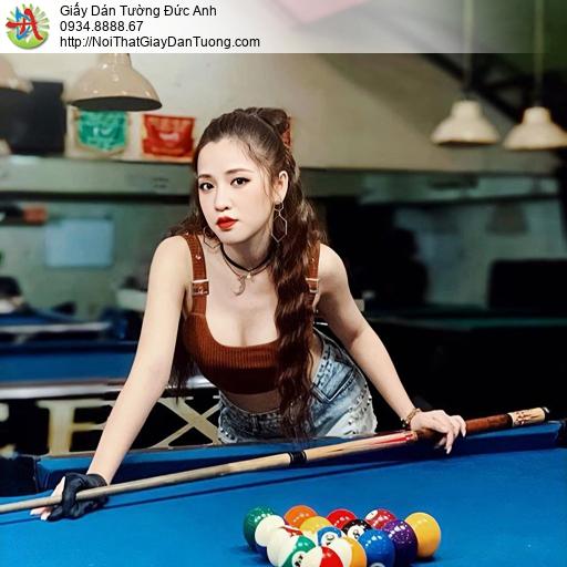 DA378 - Tranh dán tường cho quán bida đẹp, girl sexy đánh Billiard