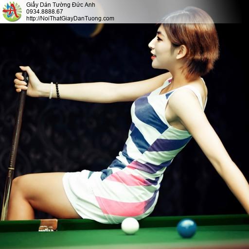 DA381 - Cô gái chơi bida, mẫu tranh dán tường bi-a đẹp nhất 2020