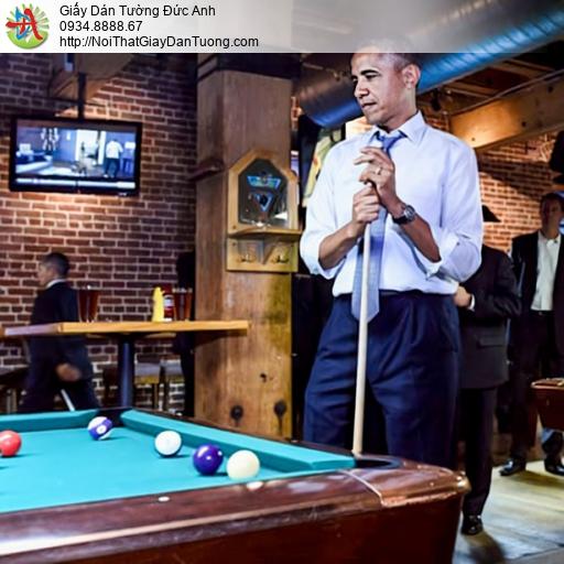 DA384 - Tranh dán tường tổng thống Obama chơi bida, tranh tại quận 5