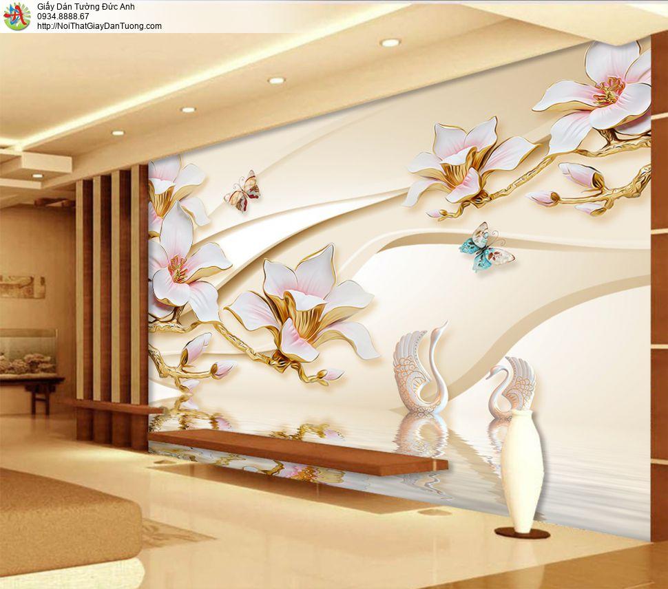 3319 - Tranh dán tường hoa 3D, bông hoa lớn 3D màu hồng cho điểm nhấn