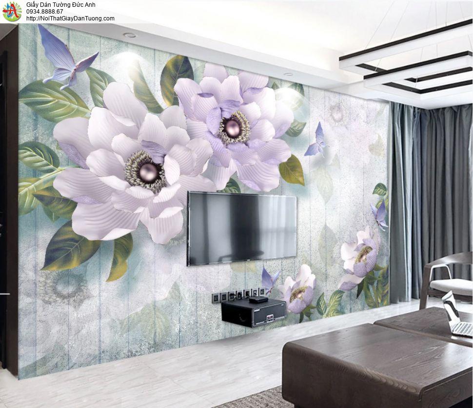 3320 - Tranh dán tường 3D bông hoa to màu tím, hoa lớn cho điểm nhấn
