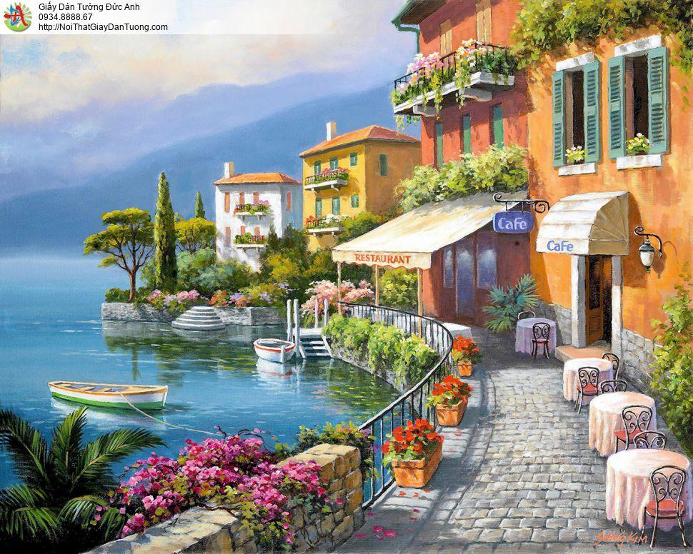 7538 - Tranh dán tường vẽ tay phong cảnh biển Châu Âu, tranh quán cafe