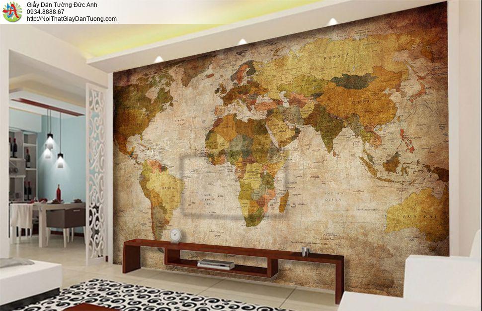 9545 - Tranh dán tường bản đồ thế giới, bản đồ cổ, bản đồ cũ màu vàng