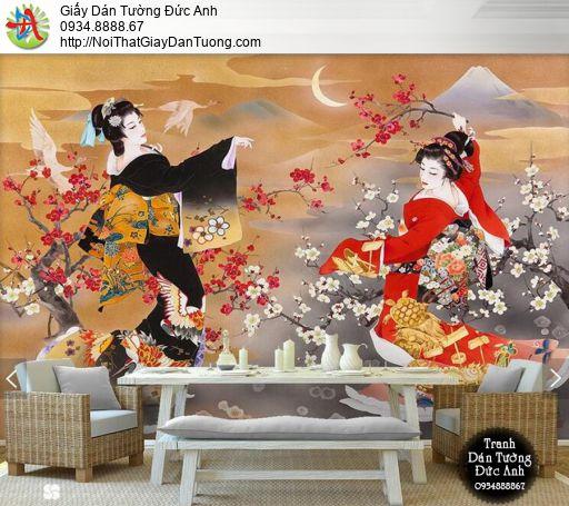 7539- Tranh dán tường geisha múa hát, tranh vẽ cô gái Nhật Bản múa hát