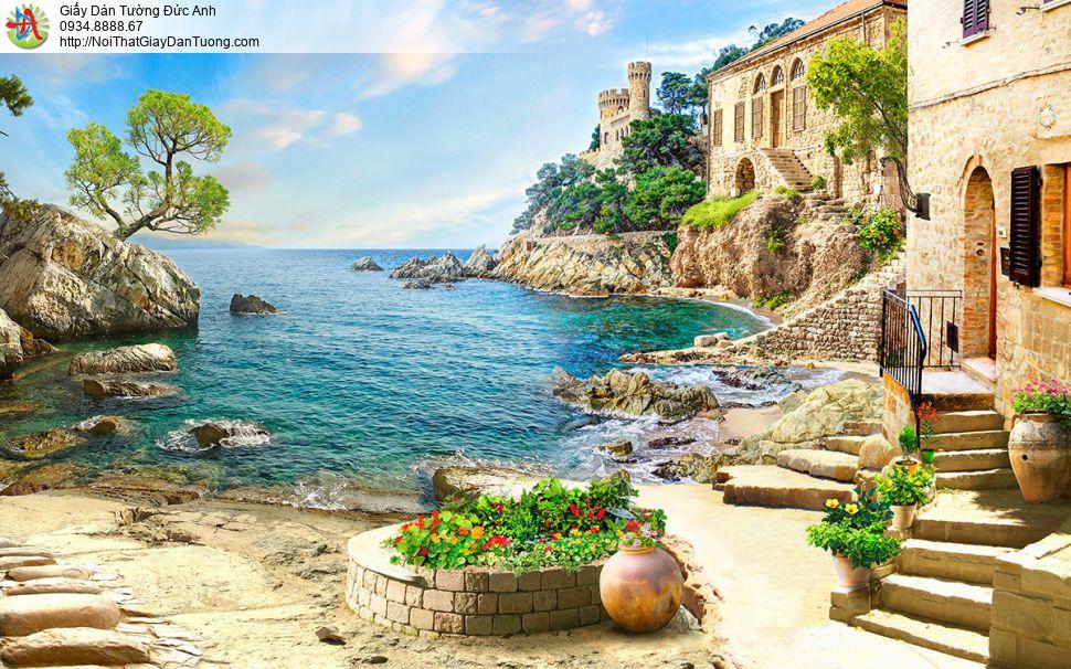 1417 - Tranh dán tường phong ngôi nhà cổ Châu Âu bên bờ biển lãng mạn
