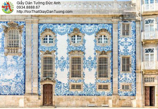 1418 - Tranh dán tường một góc thành phố ở Châu Âu bên bờ biển đẹp