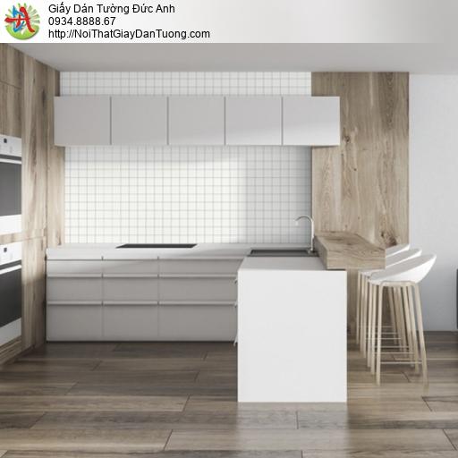 25041-1 - Giấy dán tường ô vuông màu trắng, ô vuông đường kẻ nhỏ