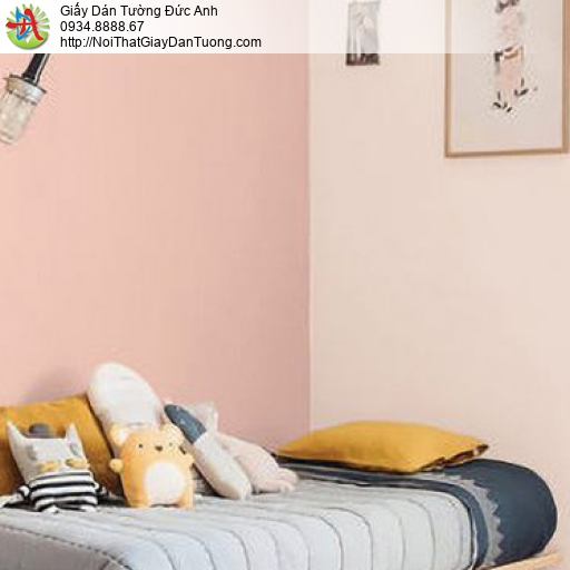 70216-1 - Giấy dán tường màu hồng, giấy dán tường một màu trơn gân