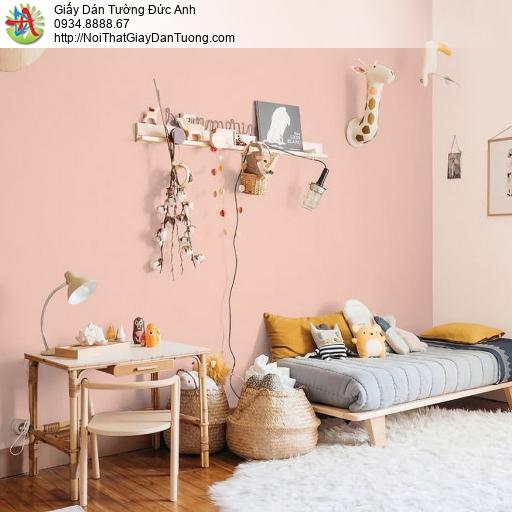 70216-5 Giấy dán tường màu hồng, giấy gân trơn đơn giản một màu hồng