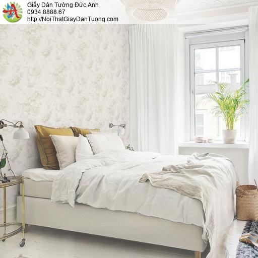 70219-1 Giấy dán tường bông hoa to màu trắng, hoa trắng gân chìm ẩn