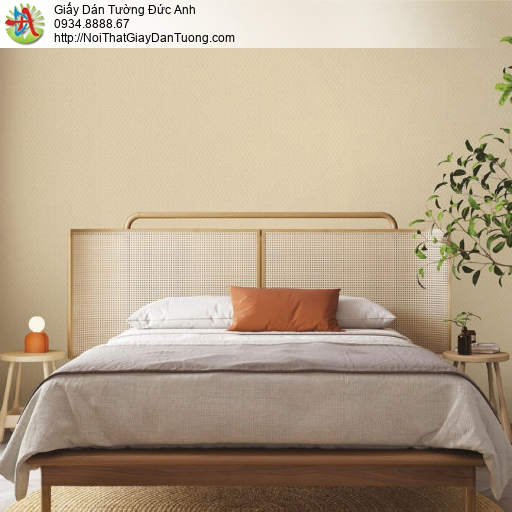 70220-4 Giấy dán tường họa tiết ca rô nhỏ màu vàng, giấy dạng gân trơn