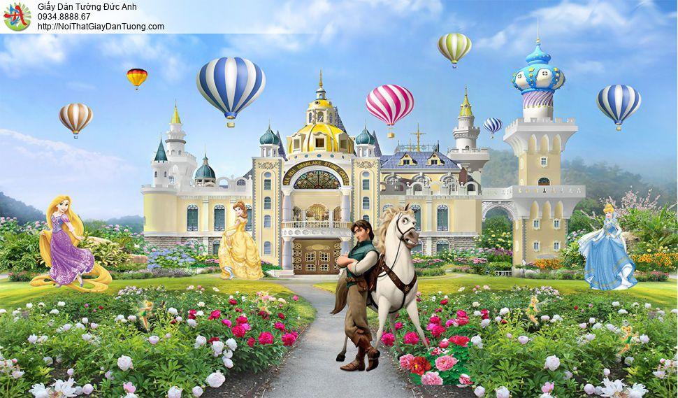2166 Tranh dán tường lâu đài hoàng tử công chúa Disney, phòng trẻ em