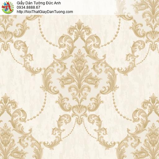 81021 Giấy dán tường hoa văn cổ điển màu vàng, phong cách Châu Âu cổ