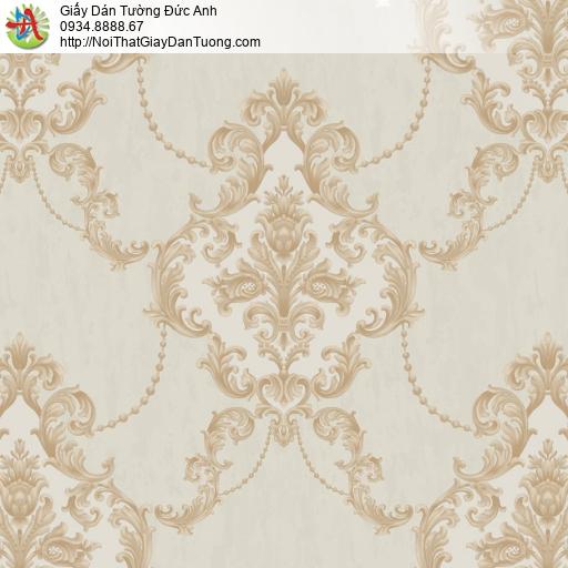 81022 Giấy dán tường họa tiết cổ điển màu vàng nâu, style Châu Âu nâu