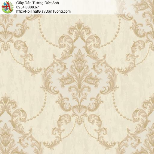 81023 Giấy dán tường phong cách Châu Âu màu vàng, hoa văn cổ điển vàng