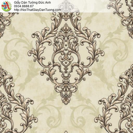 81051 Giấy dán tường hoa văn cổ điển màu vàng, họa tiết hoa hình thoi