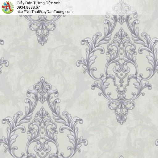 81055 Giấy dán tường cổ điển màu xám, họa tiết hoa văn màu tím