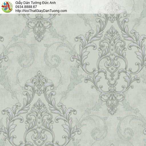 81056 Giấy dán tường cổ điển màu xanh rêu, giấy màu xanh lá nhạt