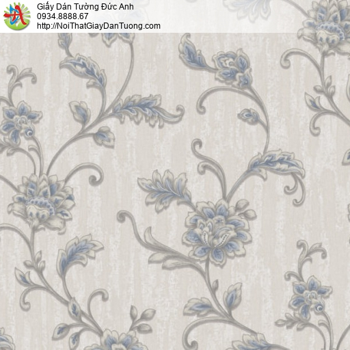 81071 Giấy dán tường hoa lá màu xám xanh, bông hoa dạng dây leo tường
