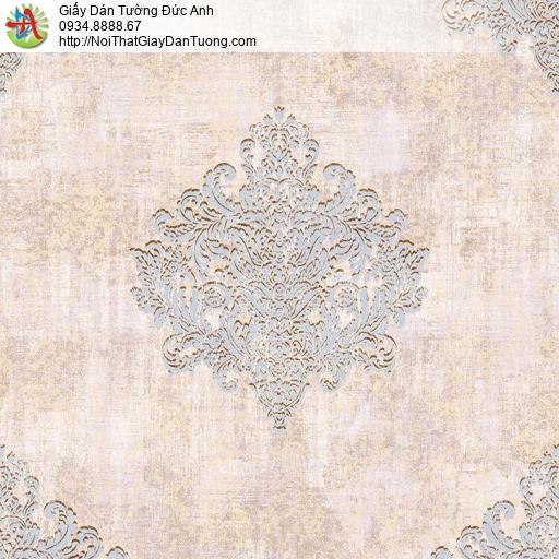 81201 Giấy dán tường cổ điển màu hồng, phong cách trang trí Châu Âu
