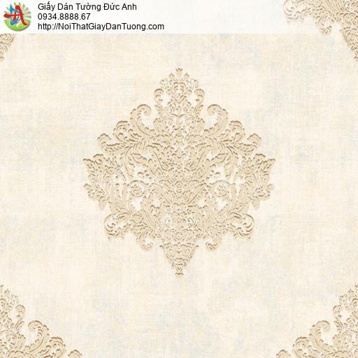 81202 Giấy dán tường cổ điển màu vàng nhạt, mẫu giấy màu vàng kem