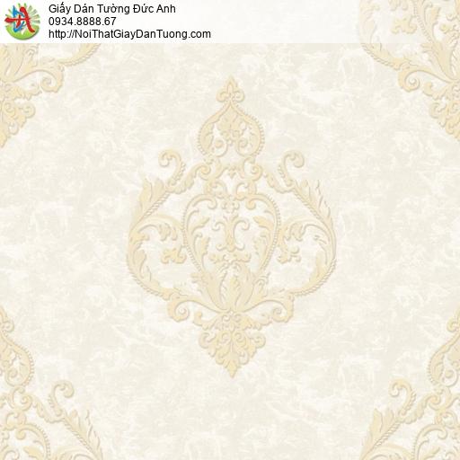 81221 Giấy dán tường cổ điển màu kem, phong cách Châu Âu màu vàng nhạt