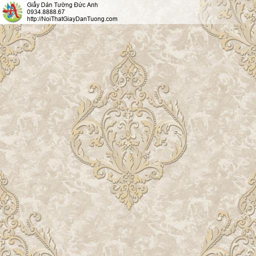 81222 Giấy dán tường cổ điển màu vàng xám vàng, style Châu Âu màu nâu